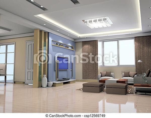 intérieur, salle séjour, moderne, render, 3d - csp12569749