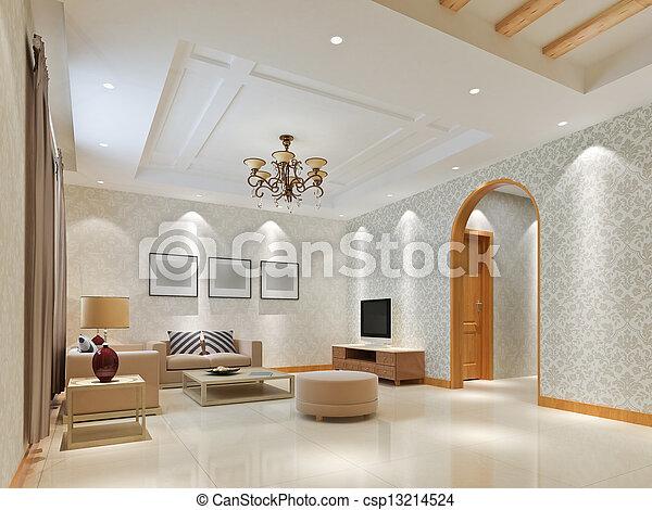 intérieur, salle séjour, moderne, render, 3d - csp13214524