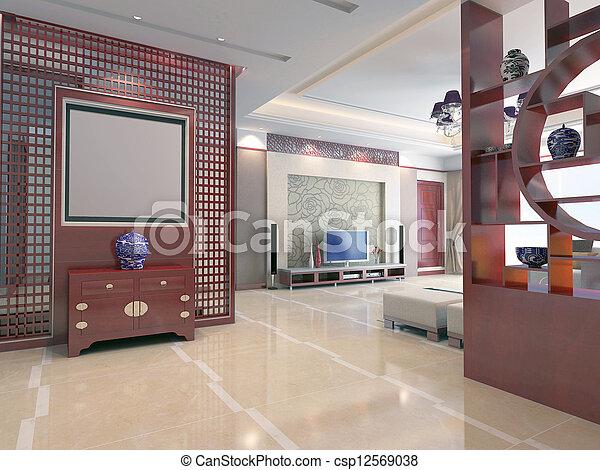 intérieur, salle séjour, moderne, render, 3d - csp12569038