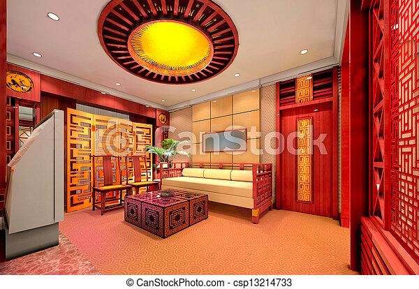 intérieur, salle séjour, moderne, render, 3d - csp13214733