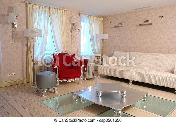 intérieur, salle, vivant - csp3501656