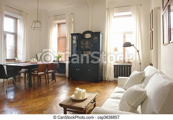 intérieur, salle, vivant - csp3636857