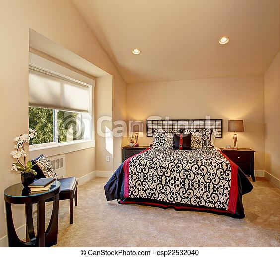 intérieur, style, chambre à coucher, literie, japonaise