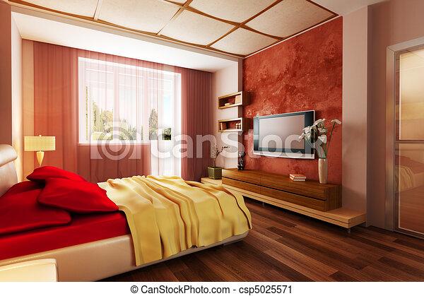intérieur, style, moderne, chambre à coucher, 3d