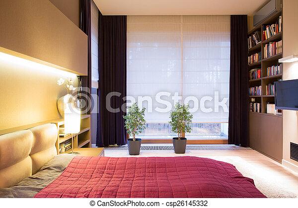 intérieur, style, moderne, chambre à coucher
