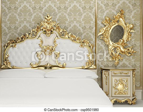 intérieur, suite, baroque, royal, chambre à coucher