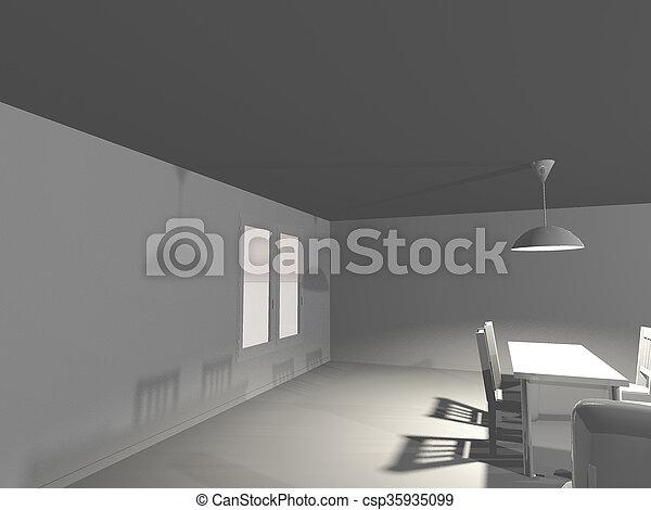 intérieur, table, blanc, render - csp35935099