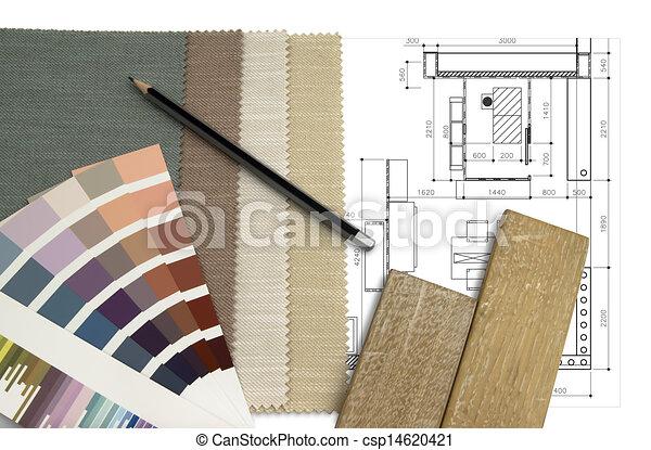 intérieur, table travail, conception - csp14620421