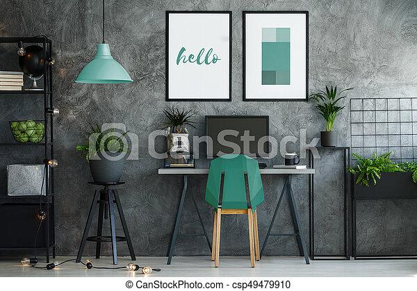 Salon industriel rustique moderne avec le bureau et cuisine