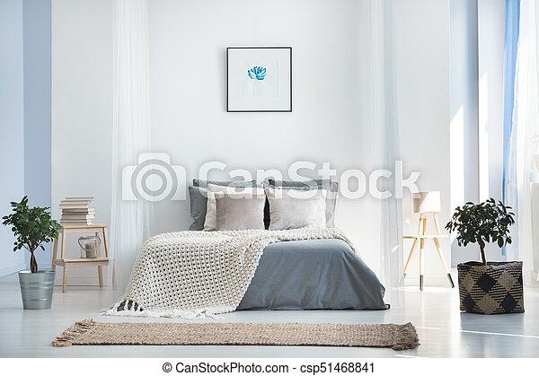intérieur, usines, clair, chambre à coucher