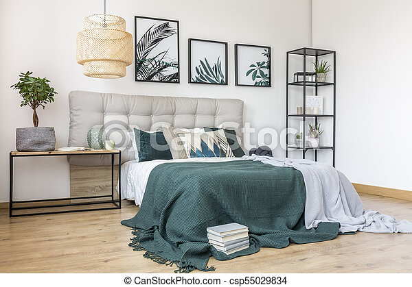intérieur, vert, gris, chambre à coucher