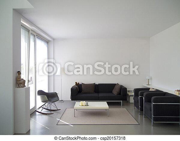 intérieur, vivant, salle moderne - csp20157318