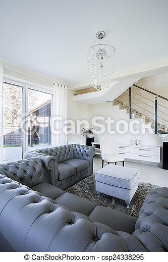 intérieur, vivant, salle moderne - csp24338295