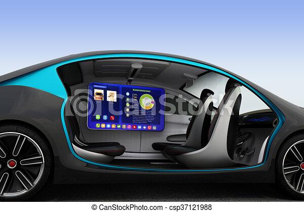 intérieur, voiture, autonome, concept. aide, homme, road., business
