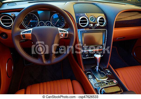 Intérieur, voiture, luxe. Roue, voiture, tableau bord, interior ...