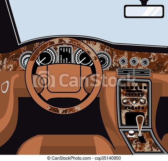 Intérieur, voiture, tailler, bois, vecteur.