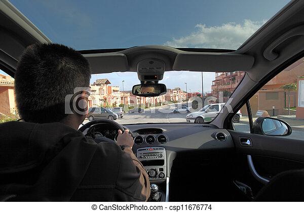 intérieur, vue, voiture, conduite, homme - csp11676774
