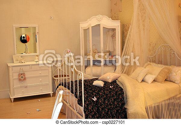 intérieurs maison, -, chambre à coucher - csp0227101