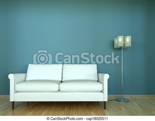 Intérieur, sofa, lampe, scène, 3d clipart - Recherchez illustrations ...