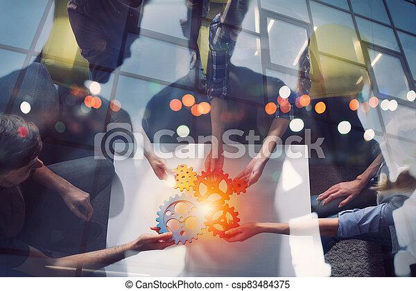 integración, gears., equipo, conectar, empresa / negocio, pedazos, concepto, trabajo en equipo, sociedad - csp83484375
