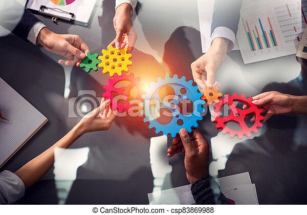 integración, gears., equipo, conectar, empresa / negocio, pedazos, concepto, trabajo en equipo, sociedad - csp83869988