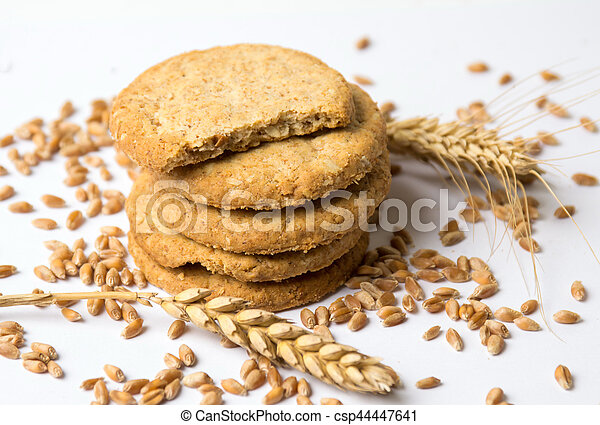 Integral cookies with linseed on white - csp44447641