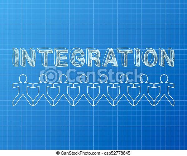 Integration people blueprint integration text hand drawn eps integration people blueprint csp52778845 malvernweather Gallery
