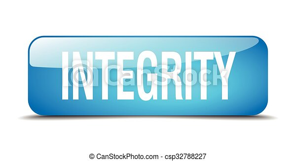 integrity blue square 3d realistic isolated web button - csp32788227