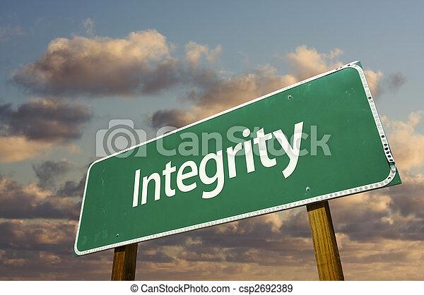 Integrity Green Road Sign - csp2692389