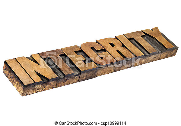 integrity word in wood type - csp10999114
