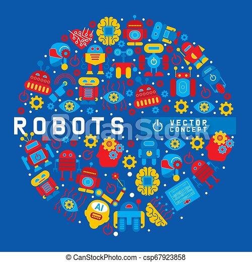 Robot, cerebro robótico, corazón, diseño de amigos para la fiesta de niños ilustración vectorial de patrones redondos. Celebración. Tecnología de inteligencia artificial futurista. Gear, tornillo. Abróchate. - csp67923858