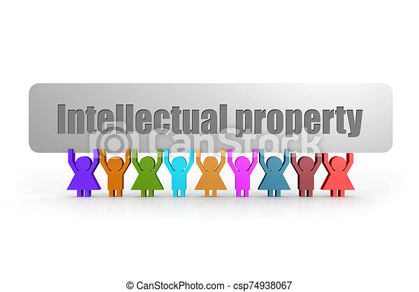 Intellectual property word on a banner hold by group of puppets - csp74938067
