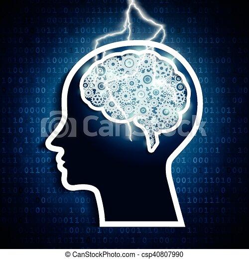 intelligens, concept., blixt, hjärna, bult, mänsklig, gears., strejk - csp40807990
