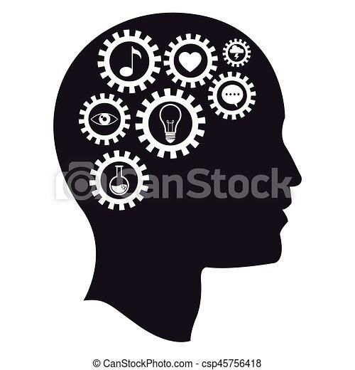 intelligens, hjärna, huvud, utrustar, media - csp45756418