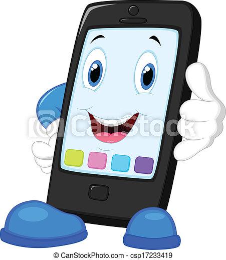 intelligent, dessin animé, appeler, téléphone - csp17233419