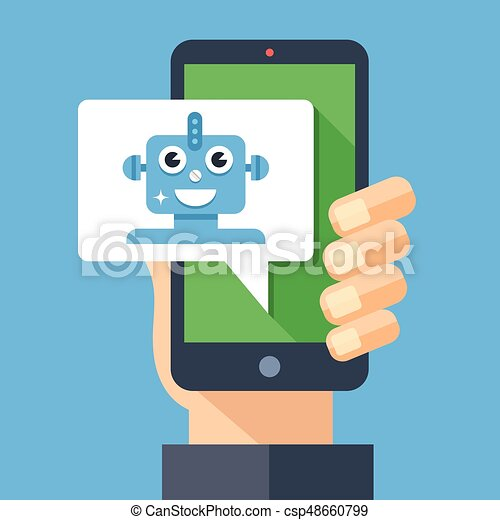 Intelligent personal assistant, virtual assistant, chat bot, chatbot concept. Hand holding smartphone with speech bubble and robot. Modern long shadow flat design graphic elements. Vector illustration - csp48660799