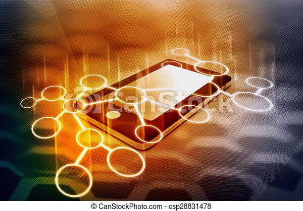 intelligent, réseau, communication, téléphone - csp28831478