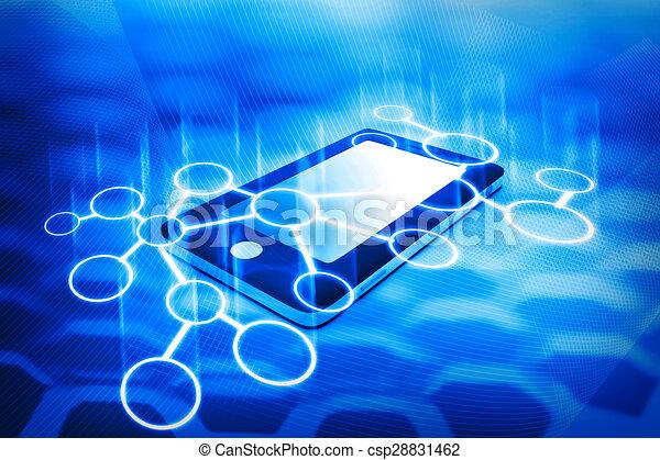 intelligent, réseau, communication, téléphone - csp28831462