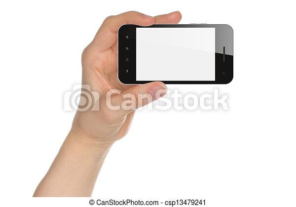 intelligent, tenue, fond, isolé, téléphone, main, blanc - csp13479241