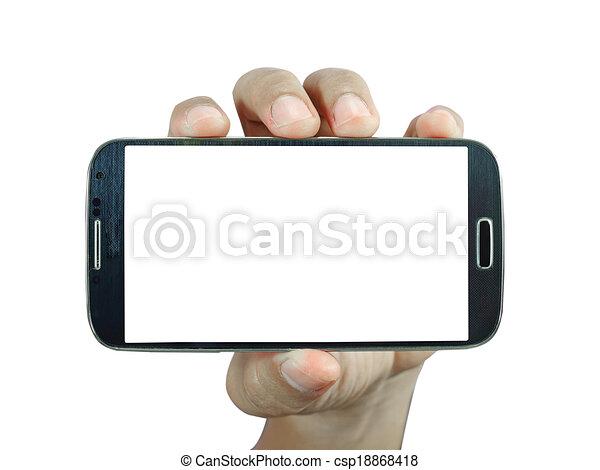 intelligent, tenue, fond, téléphone, main, blanc - csp18868418