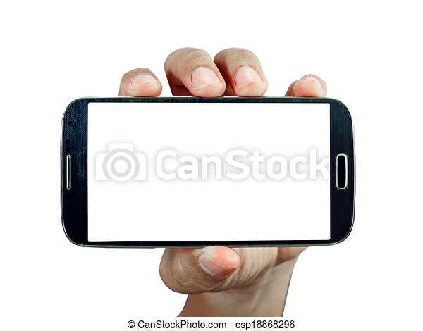 intelligent, tenue, fond, téléphone, main, blanc - csp18868296