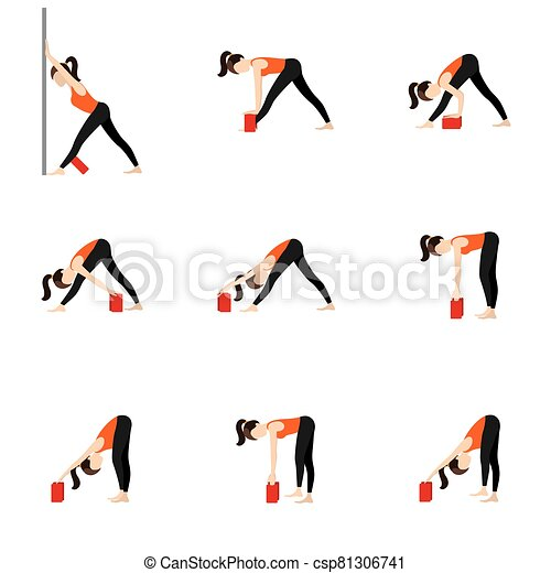 intense side stretch yoga asanas set variations with props