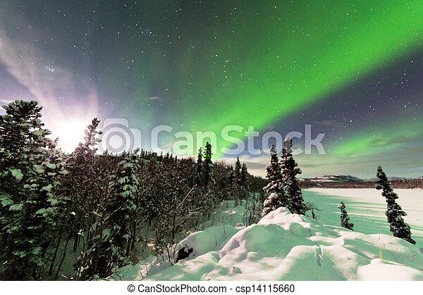 Intenso despliegue de luces del norte aurora boreal - csp14115660