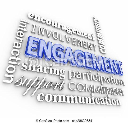 Compromiso 3D palabra collage participación de participación de interacción - csp28630684