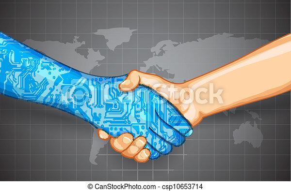 interaction, technologie, humain - csp10653714