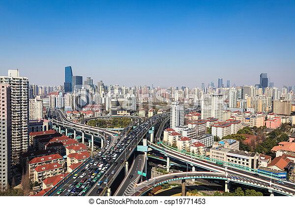 interchange overpass on traffic rush hour - csp19771453