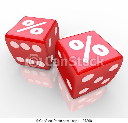 Interest Percent Sign on Dice Signs Gamble for Best Rate - csp11127308