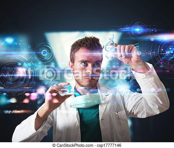interfaccia, touchscreen, futuristico, dottore - csp17777146