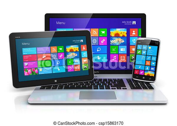 interface, appareils, touchscreen, mobile - csp15863170