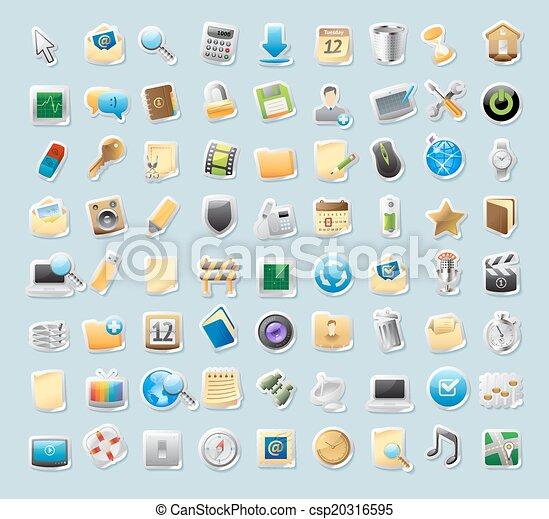 interface, autocollant, signes, icônes - csp20316595
